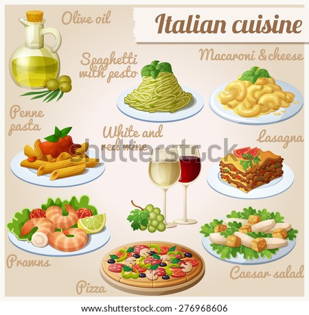 set of food icons italian