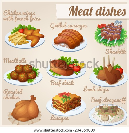 Set of food icons Meat dishes Chicken wings with french fries grilled sausages shashlik meatballs beef steak lamb chops roasted chicken lasagna beef stroganoff