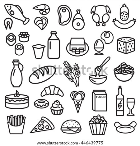 Set of food icons outline design illustration