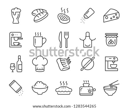 set of food icons, such as cooking, cheese, bread, meat, sweet, cake