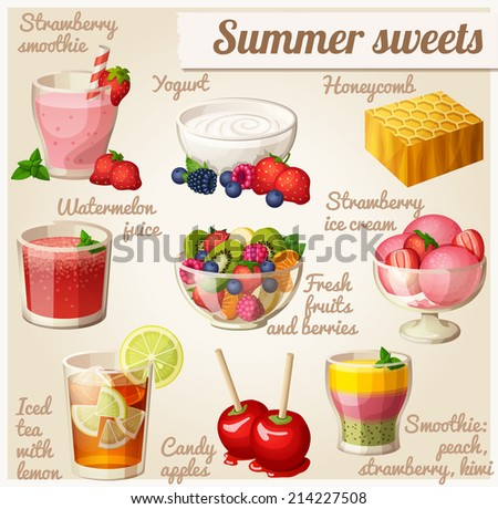 Set of food icons Summer sweets Strawberry smoothie yogurt honeycomb watermelon juice salad strawberry ice cream iced tea with lemon candy apples smoothie with peach strawberry and kiwi