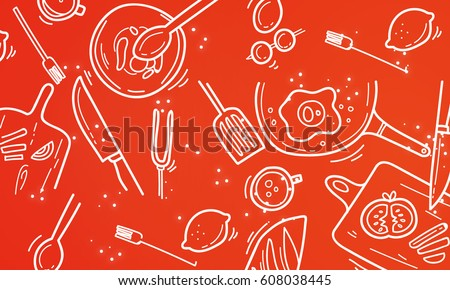 Set of food icons vector pattern