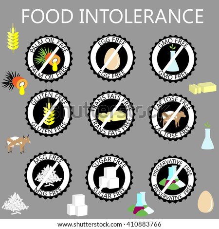 set of food intolerance signs