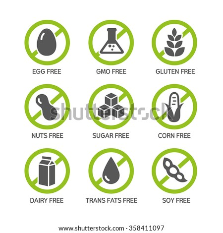 Set of food labels - allergens, GMO free products.