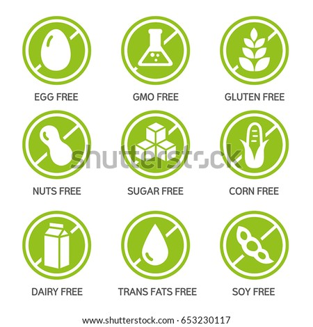 set of food labels   allergens