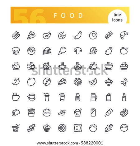 Set of 56 food line icons suitable for web, infographics and apps. Isolated on white background. Clipping paths included.