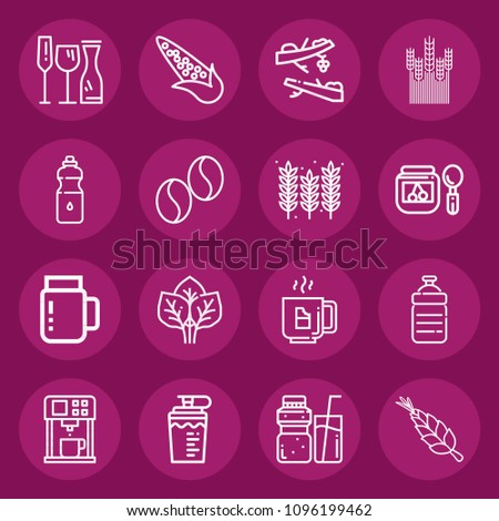 set of 16 food outline icons