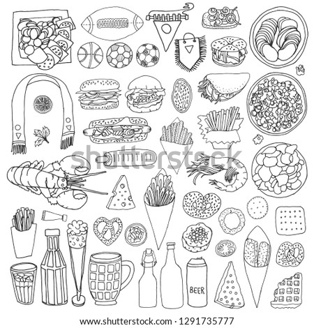 Set of food snacks eating during watching sport games such as football, soccer, basketball, are fries, beer, burgers, crackers, nuts, and funs equipments