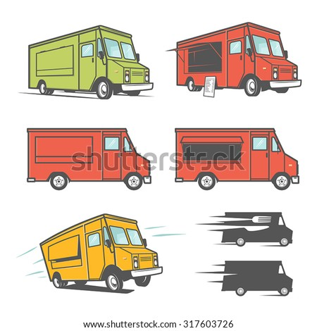 set of food trucks from various