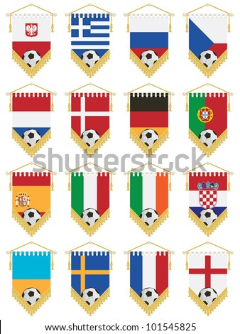 set of football flag pennants for european tournament, isolated on white