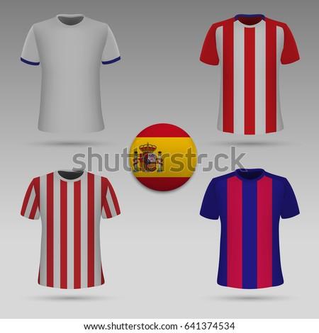 set of football kit of spanish
