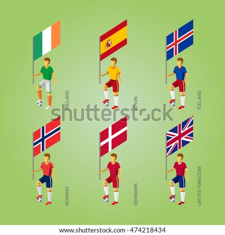 Infographic Ideas infographic soccer : Set Of Football Players With Flags. Europe Soccer Isometric Icons ...