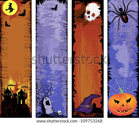 Set of for backgrounds Halloween with free space for your text