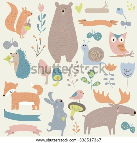 set of forest animals in