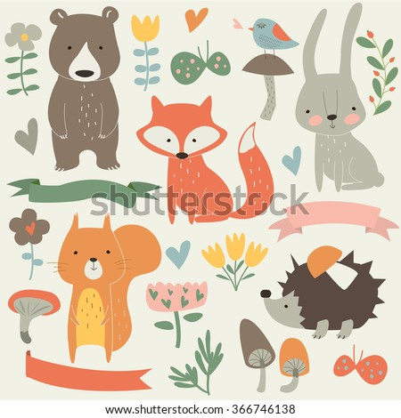 Set of forest animals in cartoon style. Cute hedgehog, birds, bear, fox, hare, mushrooms, elk, snail, squirrel, butterflies and flowers
