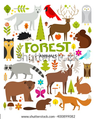 set of forest animals made in