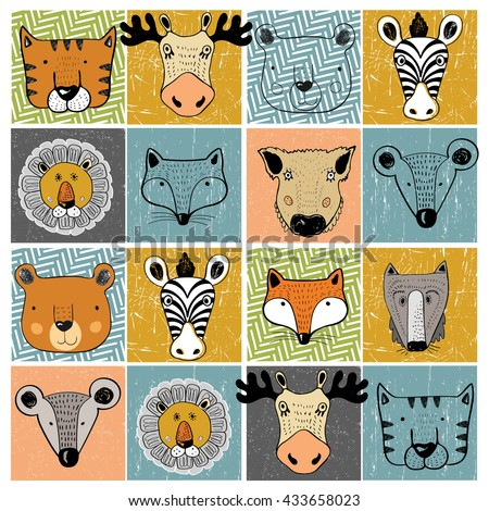 set of forest animals tiger elk