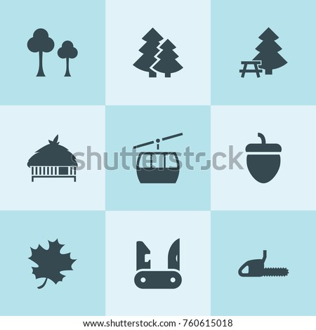 set of 9 forest filled icons