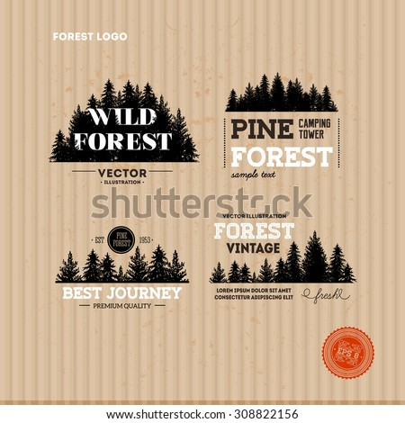 set of forest logo hipster
