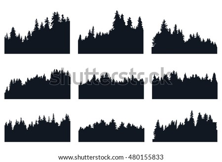 set of forest silhouetts