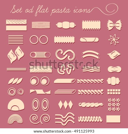 Set of forty flat pasta shapes. Collection of pasta for restaurant menu, icons, banners, food advertising, cards, printing materials.