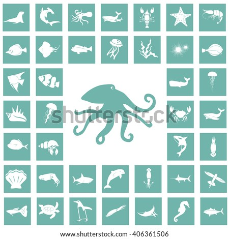 Set of forty sea animals icon