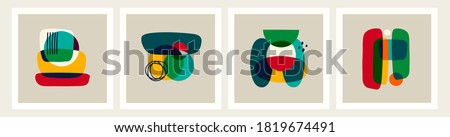 Set of four abstract backgrounds, patterns. Boho posters. Hand drawn various shapes and doodle objects. Contemporary modern trendy Vector illustrations. Every background is isolated