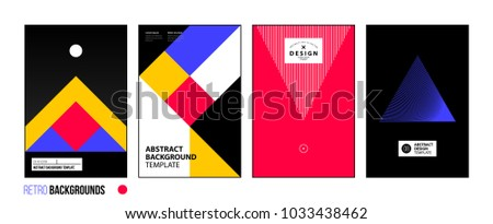 Set of four abstract backgrounds/posters in bright retro style