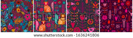 set of four abstract folk