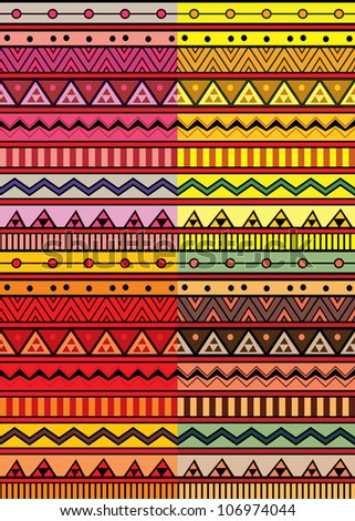 Set of four abstract geometric seamless pattern. Aztec style pattern with triangle and line