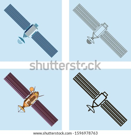 Set of four abstract icons in linear style  featuring fictional orbiting commercial satellite or satellite telecommunication, network or navigation.