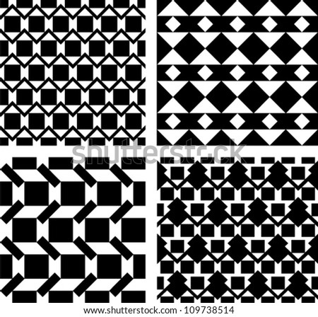 Set of four abstract seamless pattern. Black and white style pattern with triangle and lines.