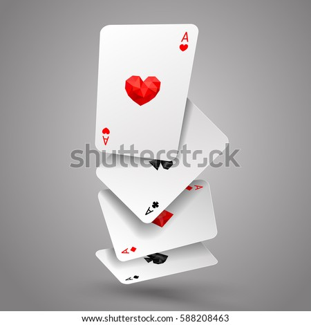 set of four aces playing cards