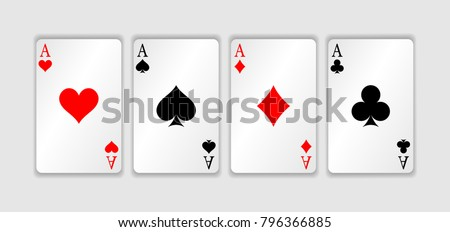 Set of four aces playing cards suits. Winning poker hand. Set of hearts, spades, clubs and diamonds ace.