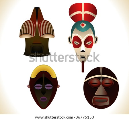 african masks pictures. Set of four african masks.