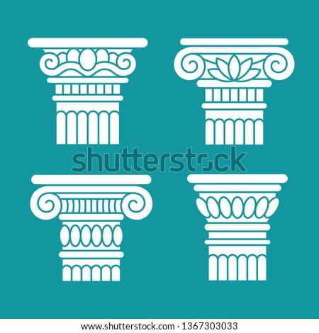 Set of four ancient greek, roman columns, pillars, orders, capitals. Design, decoration elements.
