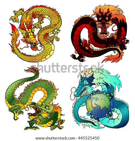 set of four asian east dragons