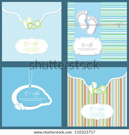 Set of four baby boy shower card in blue colors - stock vector
