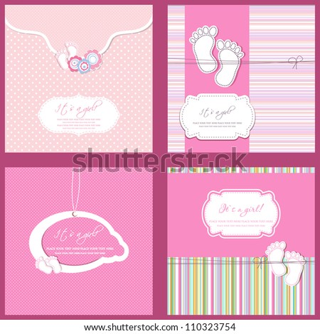 Set of four Baby girl shower card in pink colors