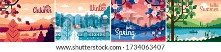 set of four beautiful seasons