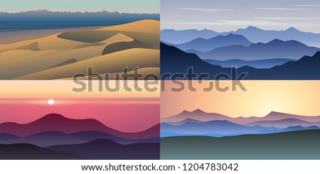 set of four beautiful vector