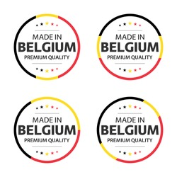 Set of four Belgian icons, English title Made in Belgium, premium quality stickers and symbols, internation labels with stars, simple vector illustration isolated on white background