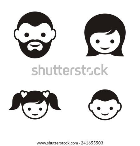 set of four black family member