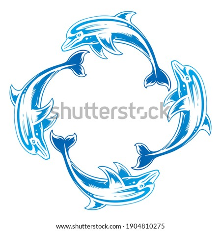Set Of Four Blue Nuanced Dolphins Vector illustration. Dolphin Silhouette Isolated On white Background Photo stock ©