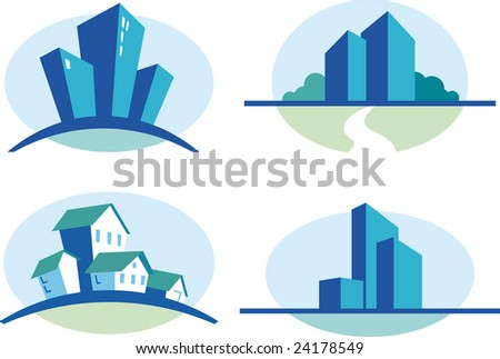 Set of four blue urban icons