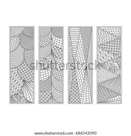 Set of four bookmarks. Black and white hand draw sketch in style of doodle. Coloring book for children and adults, label, banner. Vector illustration.