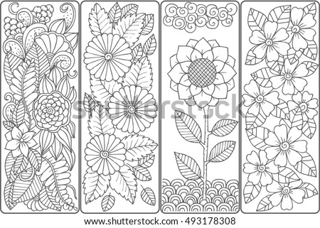 Set of four bookmarks in black and white. Floral doodling