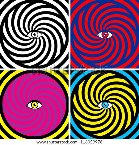 set of four bright hypnotic