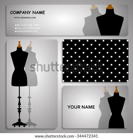 set of four business card and