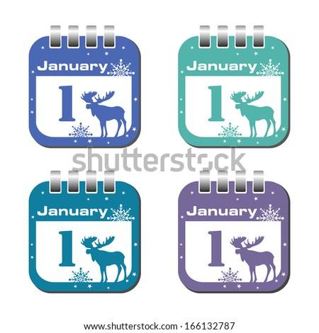 set of four calendar sheets